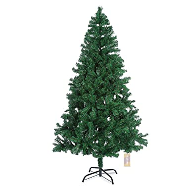 LightMe 1.8M/5.9 Feet Eco-friendly Artificial Christmas Pine Tree with Metal Hinged Stand 800 Branch Tips for Indoor Outdoor Christmas New Year Decor