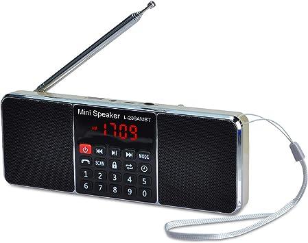 COVVY Altavoz de Radio Bluetooth FM/Am MP3 portátil, Soporte de Disco USB/Tarjeta TF, Antena Larga, Sonido estéreo, Llamada Manos Libres, Función de ...