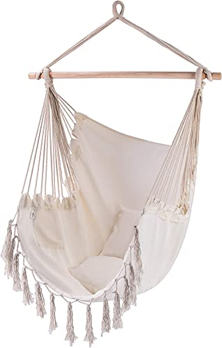 VIVOHOME Linen Fabric Hanging Hammock Chair with 2 Cushions for Indoor Outdoor, 330 Lbs Capacity, Stand Not Included, Beige