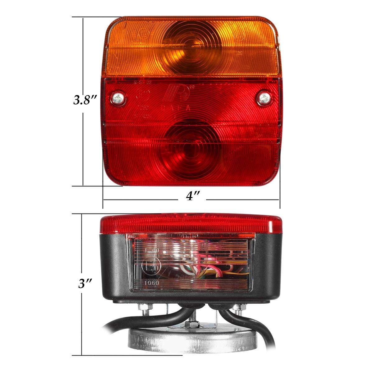 7 pin Plug Caravan PARTSAM Magnetic Trailer Rear Light 12V Board Towing Lights Lamps 7.5m Cable