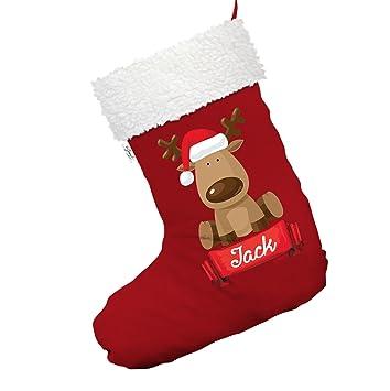 Personalizado gorro de Papá Noel reno grande rojo Navidad medias calcetines con ribete blanco: Amazon.es: Hogar