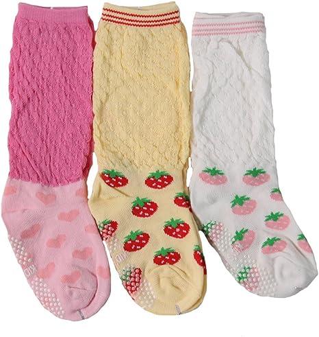 Girls Infant//Toddler Set of 3 or 4 Non Skid Socks