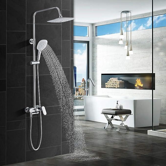 Shower System with Rain Shower, Thermostat, Stainless Steel Shower Column, Shower Fitting: Amazon.de: Baumarkt