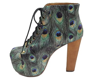 7659c1ee640d Jeffrey Campbell Shoes Lita Peacock Feather Satin Ankle Boots