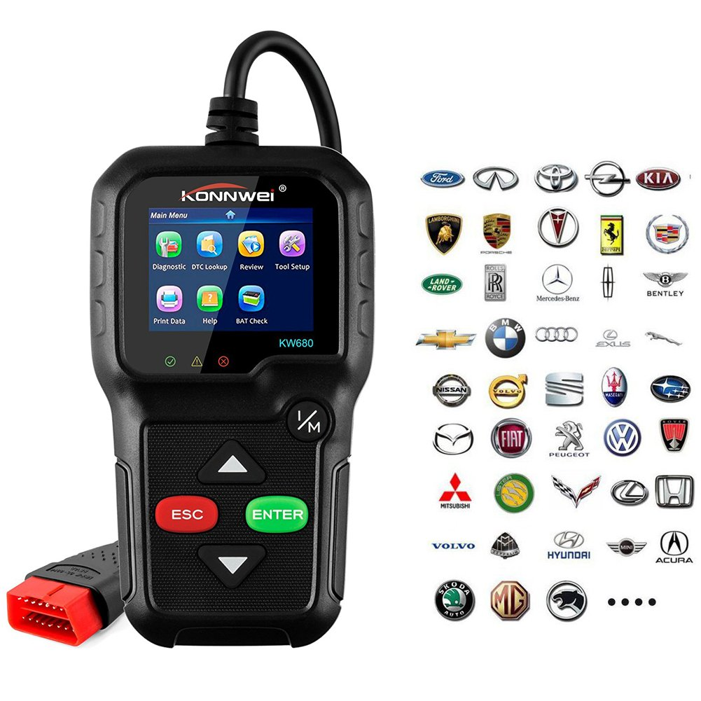 OBD ii Car Code Reader, Check Engine Light Diagnostic Tool KONNWEI KW680 OBDII OBD2 Code Scan tools Read/Clear Engine Fault Codes Scanner