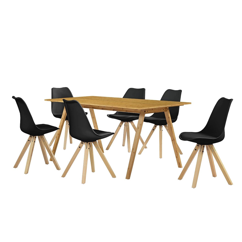 [en.casa] Esstisch / Essgruppe Mit 6 Stühlen Schwarz 180x80: Amazon.de:  Küche U0026 Haushalt