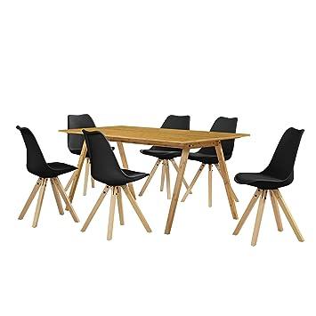en.casa] Esstisch / Essgruppe mit 6 Stühlen schwarz 180x80: Amazon ...
