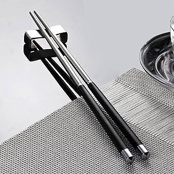UWILD 5 pares de palillos de acero inoxidable de alta calidad del regalo palillos restaurante japonés fijado