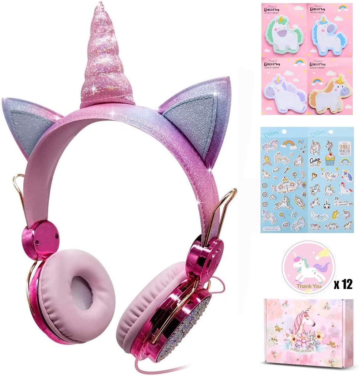 Unicorn Kids Headphones for Girls Children Teens, Wired Headphones for Kids with Adjustable Headband, 3.5mm Jack and Tangle-Free Cord, Over On Ear Headset w Mic for School Birthday Xmas Unicorn Rose