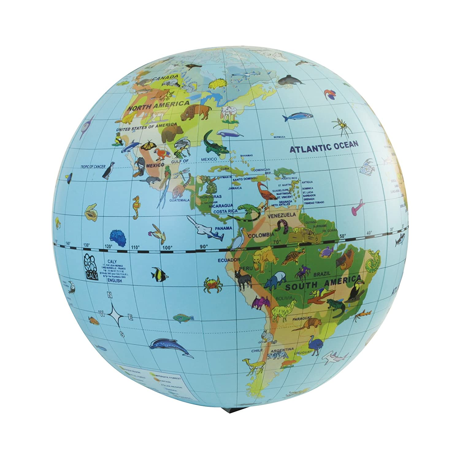 Age 6+ Animal Quest 20 inch Inflatable Species Globe /& Game