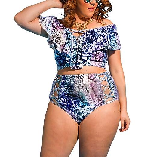 b441bf9ecc Women s Plus Size Off Shoulder Ruffles High Waist Bikini Sets Swimsuit  Swimwear for Women