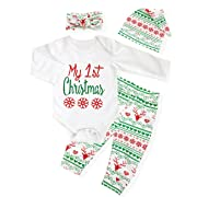 4Pcs My First Christmas Clothing Toddler Baby Boys Girls Rompers Long Sleeve Newborn Outfits Set (0-6Months)