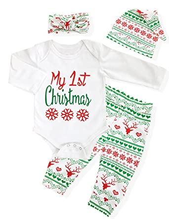 58d41ec54 4Pcs My First Christmas Clothing Toddler Baby Boys Girls Rompers Long  Sleeve Newborn Outfits Set(