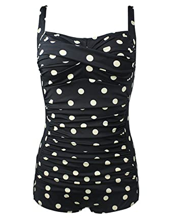 7671a39be23 Amazon.com  Tempt Me Women One Piece Plus Size Vintage Polka Dot Ruched Boy  Shorts Monokini Swimwear Black L  Clothing