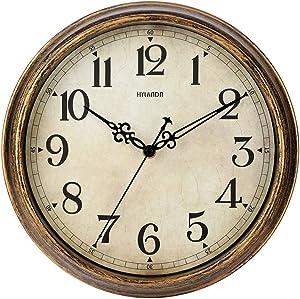 HYLANDA Wall Clock - 12 Inch Vintage Wall Clocks Battery Operated - Retro Quartz Silent Non Ticking - Decorative Living Room Home Kitchen School Office(Bronze)