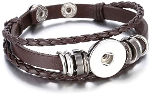 Amazon Com Brown W Silver Beads Diy Leather Bracelet For
