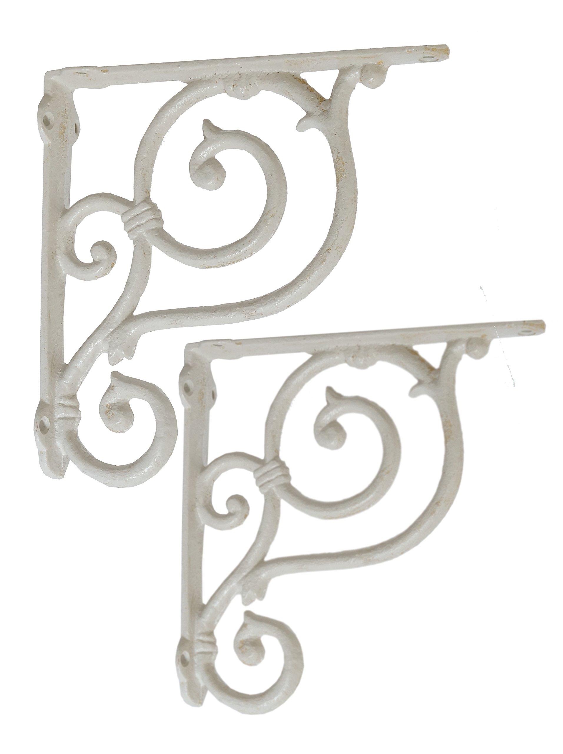 NACH js-90-059AW Decorative Shelf Bracket (Pack of 2), Medium, White (7.5x7.5x1.49 inches)