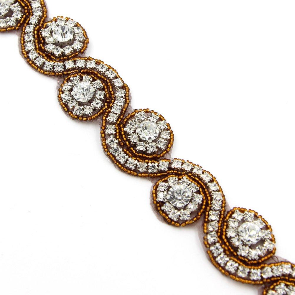 Crystal Rhinestone Trim Gleaming Ribbon Applique Bridal Beaded Applique,1 Yard Black Craft Living