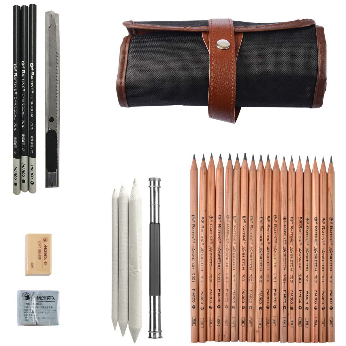 Coolzon® Lapices Dibujo Sketching Pencil Set, Carboncillos para Dibujo Lapices Set con Kit Dibujo para Principiantes y Artistas