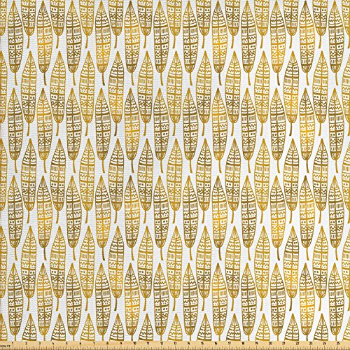 Ambesonne Feather Fabric by The Yard, Tribal Ethnic Detailed Native American Inspired Boho Artwork Print, Decorative Fabric for Upholstery and Home Accents, Amber Marigold and (Amber Living Room Upholstery)