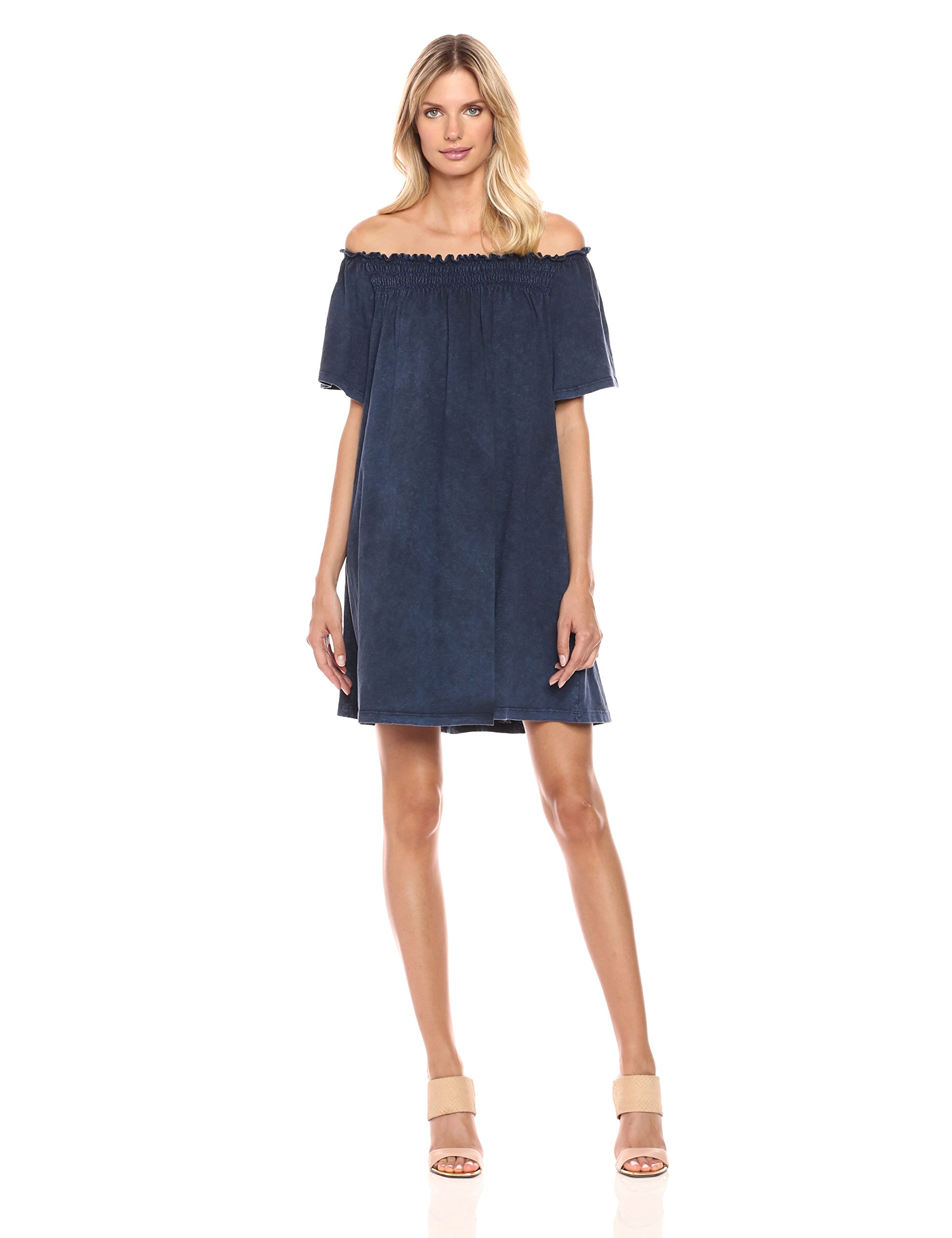 French Connection Women's Chisulo Smocking Jersey Dress, Indigo Wash Look, L