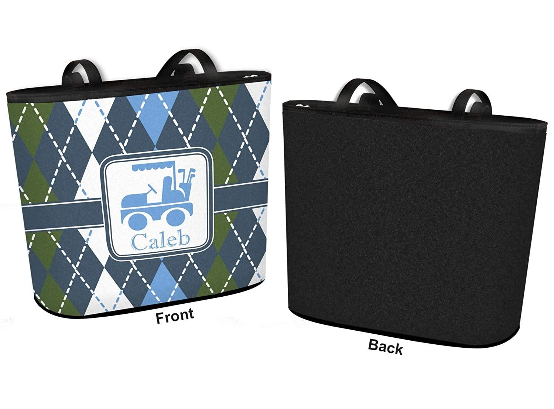 Blue Argyle Bucket Tote w//Genuine Leather Trim Regular w//Front Design Personalized