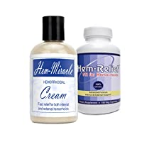 Western Herbal and Nutrition | Hem-Miracle Cream + Hem-Relief Combo | Natural Hemorrhoidal Treatment & Advanced Hemorrhoid Care | Internal & External Support | Fast Acting | 4 oz. Bottle & 90 Capsules