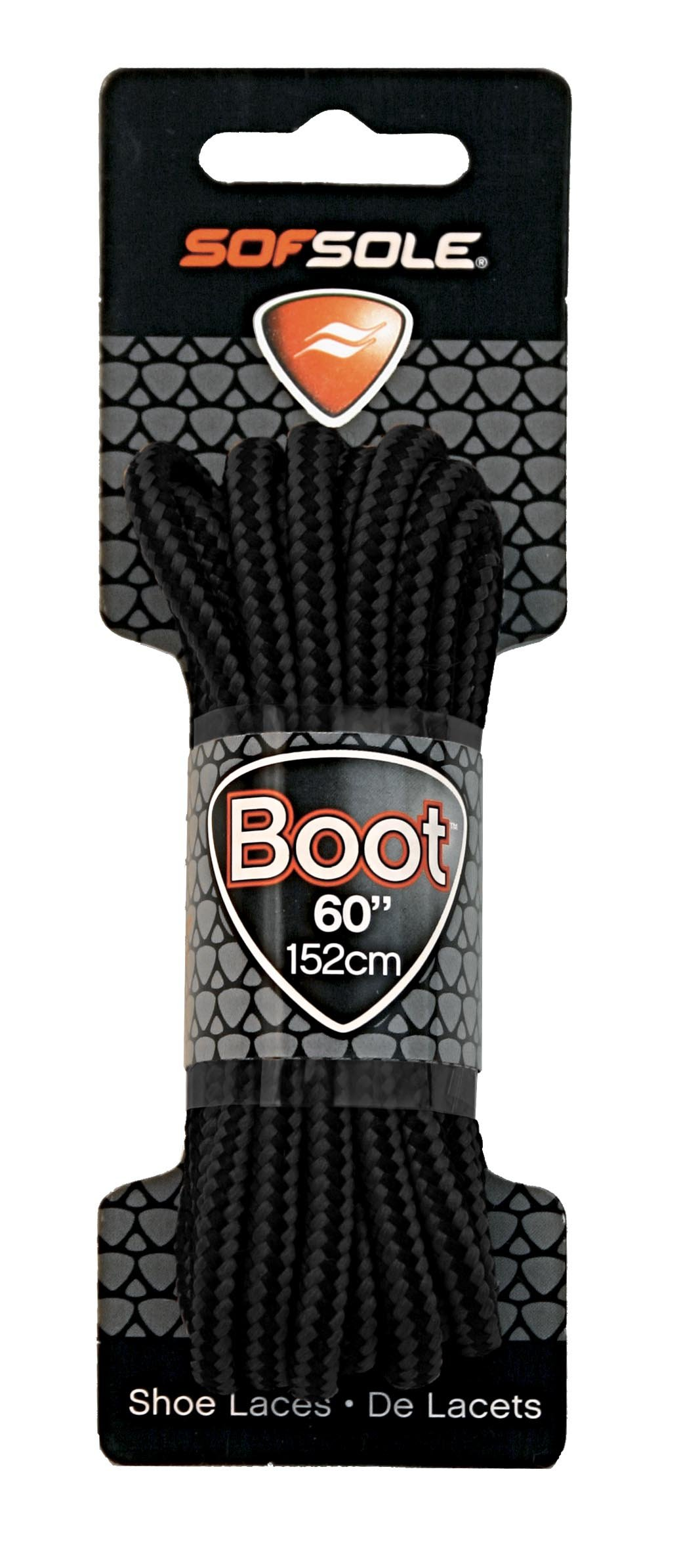 Sof Sole Round Boot Laces (Black, 60-Inch)