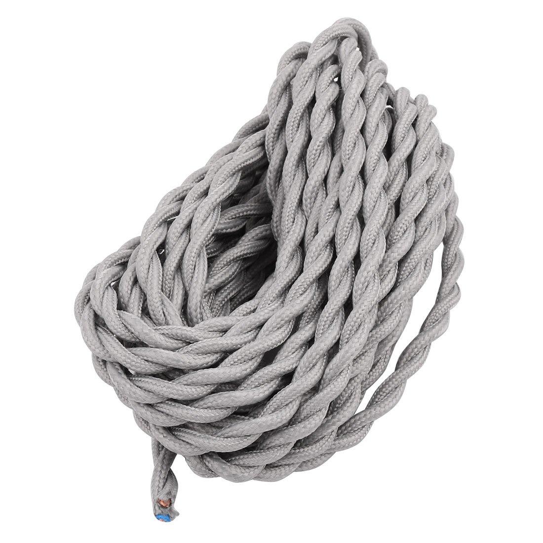 sourcing map Cable de energ/ía el/éctrica trenzado 5M 2 hilos de tela gris Cuerda Cubierta redonda de la vintage l/ámparas pendientes de Certificado VDE