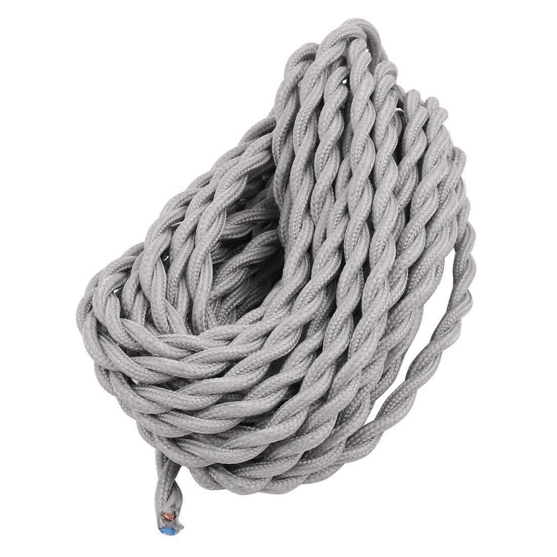 uxcell 5Meters 2-wire Gray Cloth Covered Round Cord Vintage Lamps Pendant Light VDE Certificated