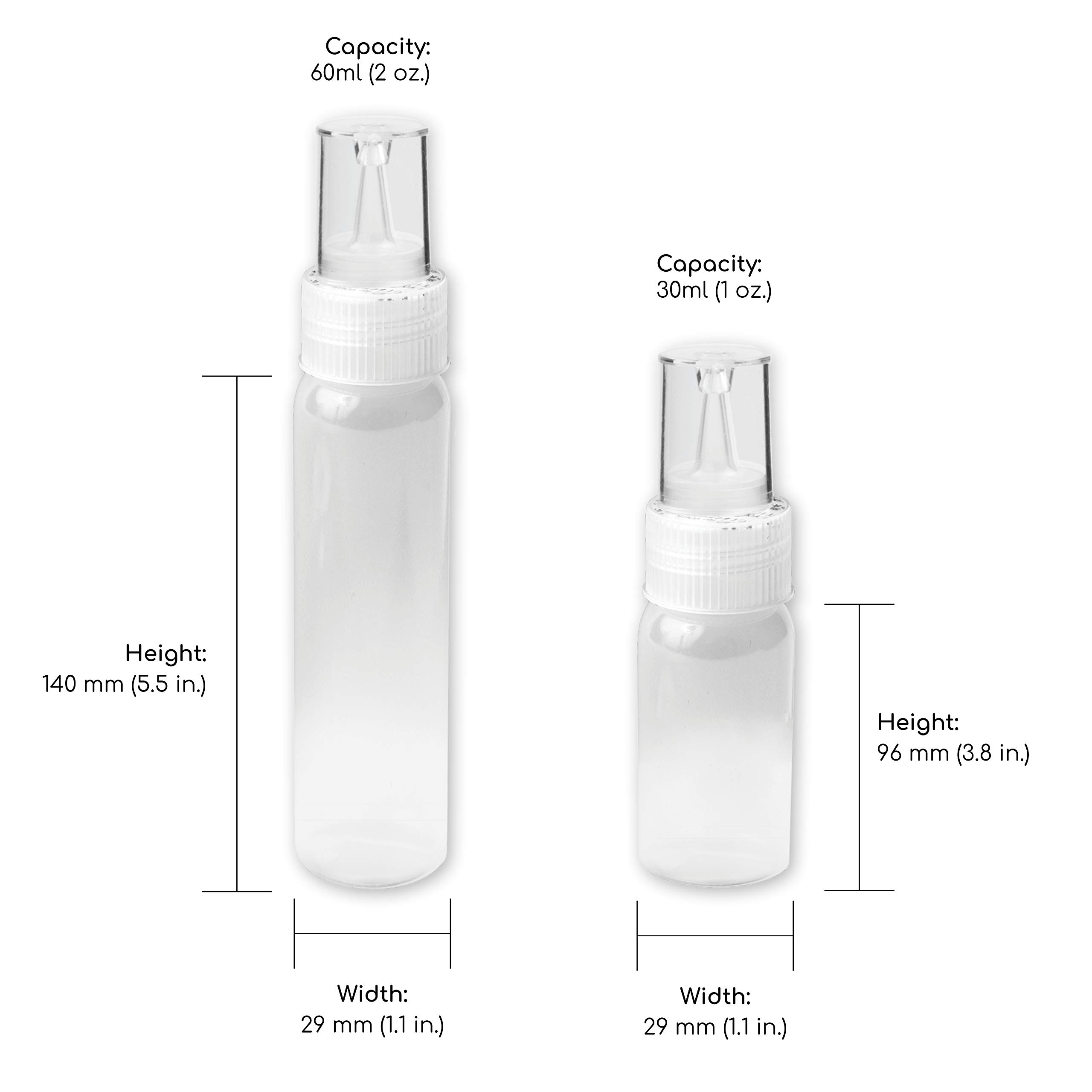 Writer Bottles - 10 Easy Squeeze Applicator Bottles - 5 each (1 and 2 Ounce) - Cookie Decorating Supplies, Cookie Cutters, Cookie Supplies (10 Bottles) by Free Hand (Image #2)
