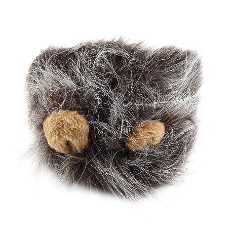 Pudincoco Encantadora Disfraz de Mascota Leones Melena Peluca para el Gato Fiesta de Navidad de Halloween Vestir con Oreja Ropa para Mascotas Gato ...