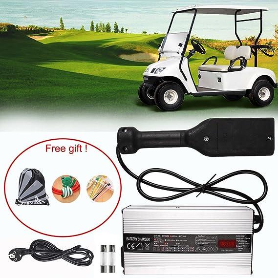 36 Volt Cargador De Batería Carro Ezgo De Golf,GZQES, 36V Cargador Para EzGo,Bateria para Cohe con Enchufe EU con Pantalla LCD (Plata): Amazon.es: Deportes ...