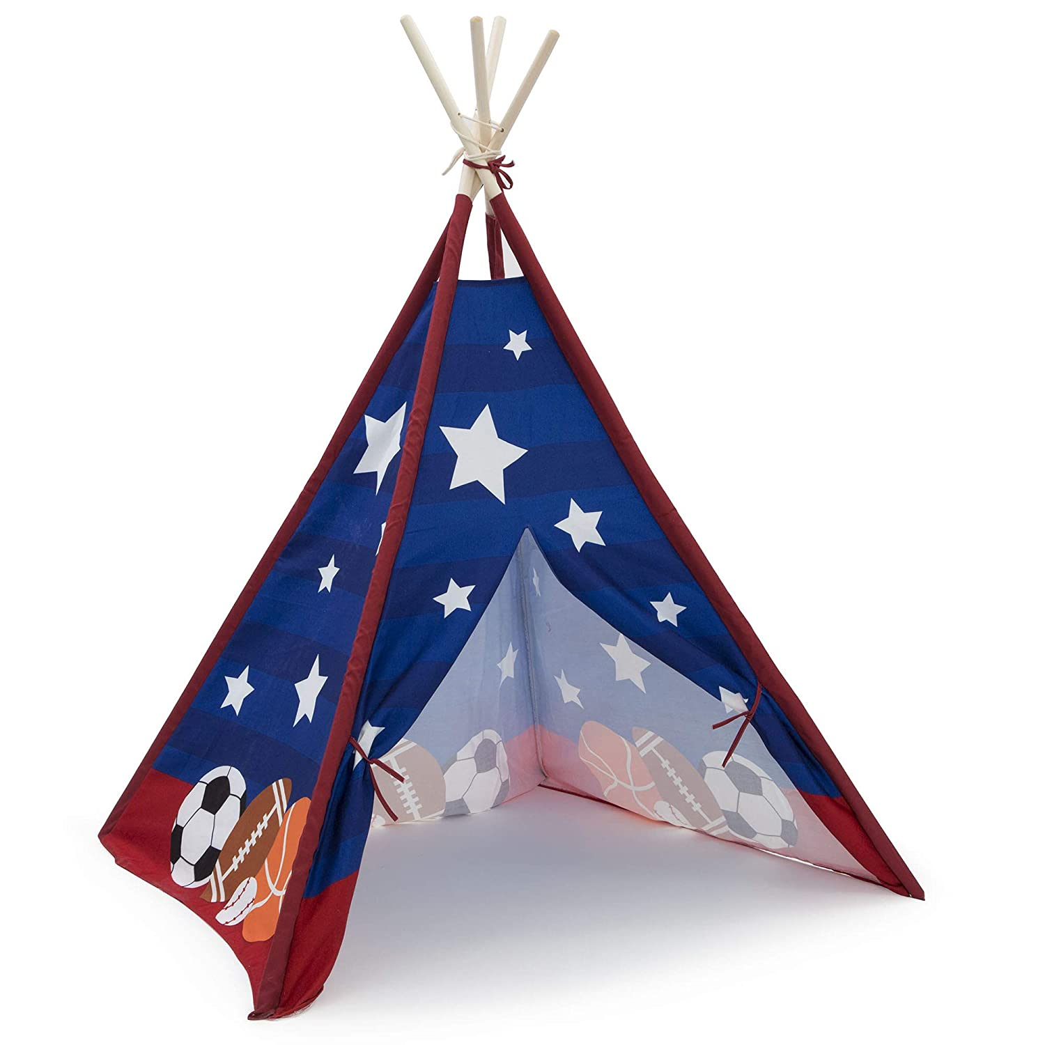 Geometric Squares Delta Children Teepee Play Tent for Kids Cotton Canvas with Wooden Poles