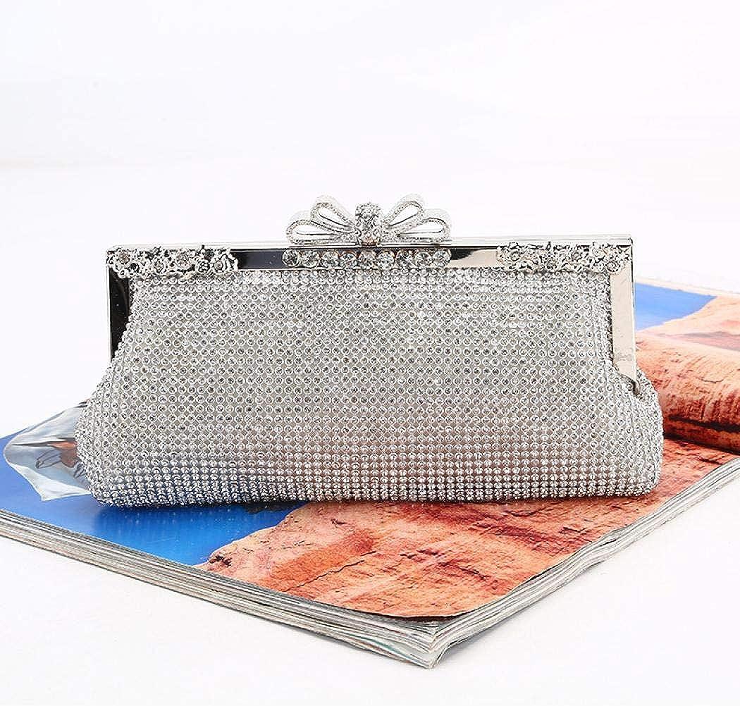 Puedo Rhinestone Crystal Clutch Purse Bow Clasp Women Evening Clutch Bag for Bridesmaid Wedding Party Handbags