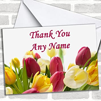 Tulips Customised Thank You Greetings Card Cards Amazoncouk Office Products