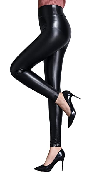 f80bb4929fc693 IRELIA Womens Sexy Faux Leather High Waisted Brushed Leggings Long Pants  Black L