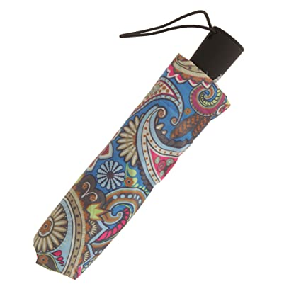 Susino - Paraguas plegable con estampado cachemir (Talla Única/Azul): Amazon.es: Ropa y accesorios