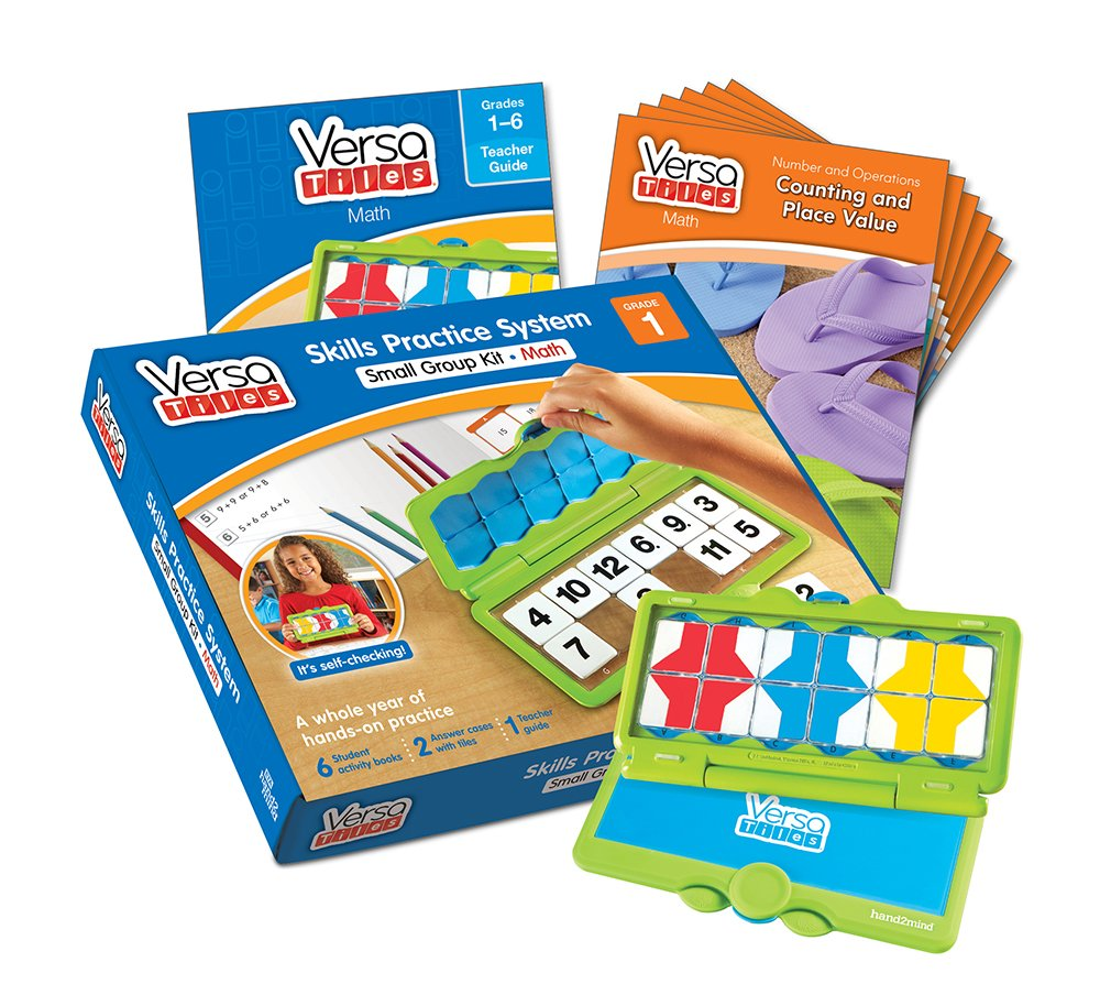 hand2mind VersaTiles Math an Engaging Puzzle Game Kit for Kids (Grade 1+) - Counting, Place Value, Properties, Beyond 20, and Geometry | 6 Student Activity Books and 1 Teacher Guide by Versa Tiles