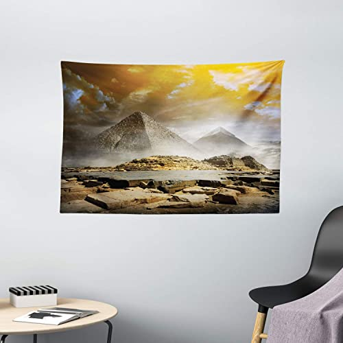 Ambesonne Egyptian Print Tapestry, Storm Clouds Over Pyramids Photo of Culture Eastern Art, Wide Wall Hanging for Bedroom Living Room Dorm, 60 X 40 , Cream Orange