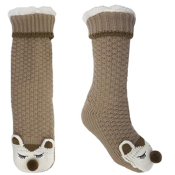 FOXBURY - Calcetines de estar por casa - para mujer marrón Fox Talla única: Amazon.es: Ropa y accesorios