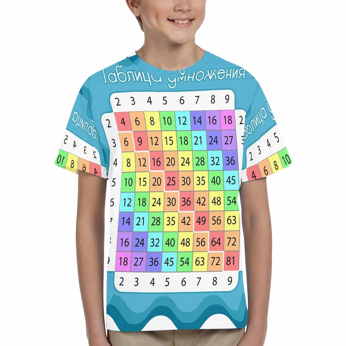 XS-XL INTERESTPRINT Multiplication Table Unisex Kids T-Shirts