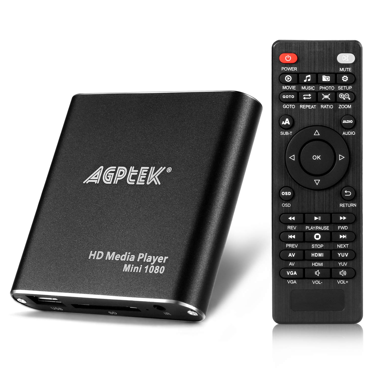 HDMI Media Player, AGPtek Black Mini 1080p Full-HD Ultra HDMI Digital Media Player for -MKV/RM- HDD USB Drives and SD Cards by AGPTEK