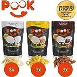 POOK Kokosnuss-Chips Try me 9er-Set (9 x 40 g), Chocolate, Mango, Original, vegan | geröstete Kokosnuss-Streifen mit Meersalz und Kakao | thailändischer Snack aus Kokosnussfleisch