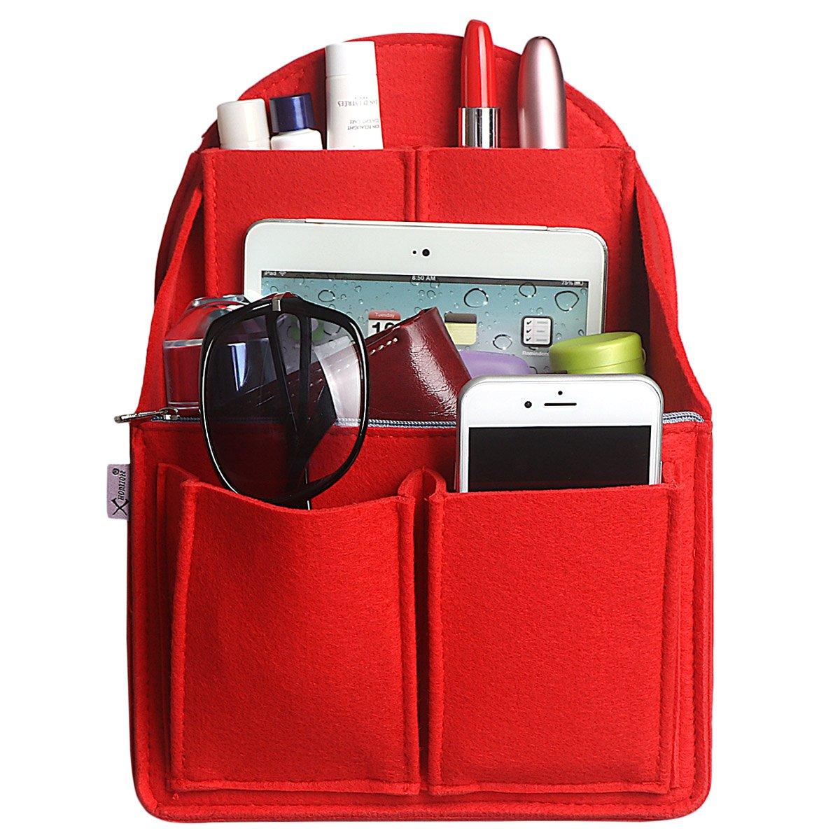 Xidan Handbag Organiser, Fabric Bag Organizer with Felt Handbag Shape, Multi-Pocket Pocket Pocket Backpack Purse and Travel Backpack Bag in Bag Organizer, Beige