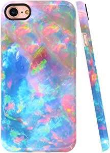 A-Focus Case for New iPhone SE Case Opal Colorful, iPhone 8 Case, iPhone 7 Case, Green Blue Opal Marble IMD Flexible TPU Shell Case for iPhone 7/8 / SE 4.7 inch Glossy Colorful