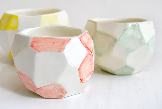 Set of Three Faceted Ceramic Planters Ceramic Pots by Barruntando