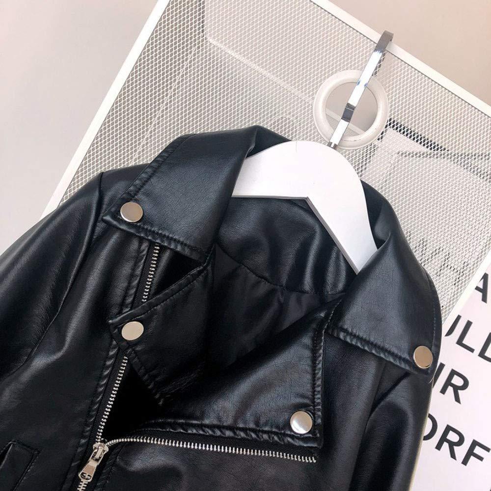 KONFA Teen Baby Girls Boys Autumn Winter Outwear Clothes,Stylish Leather Zipper Lapel Jacket Coat Set,for 1-6 Years Kids