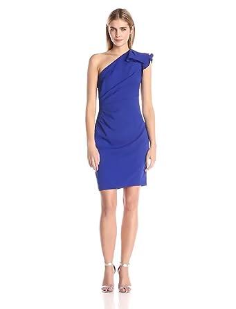 c629699a1558 Carmen Marc Valvo Infusion Women's Ruffled One Shoulder Short Crepe Dress,  Cobalt, ...