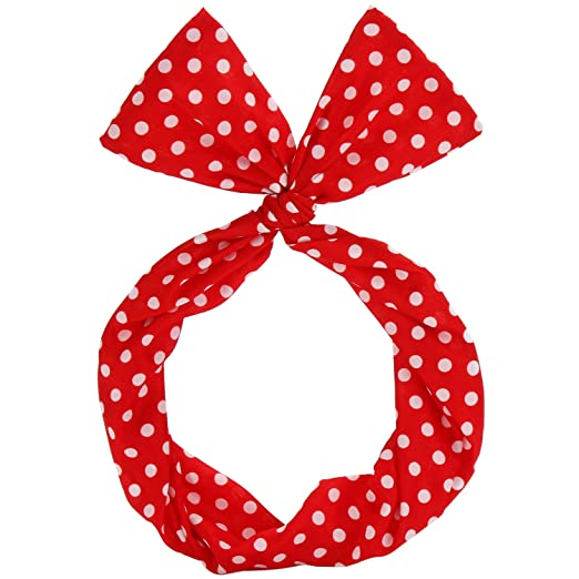 What Did Women Wear in the 1950s? Sea Team Wire Headband Stylish Retro Bowknot Polka Dot Wire Hair Holders for Women and Girls Red $7.99 AT vintagedancer.com
